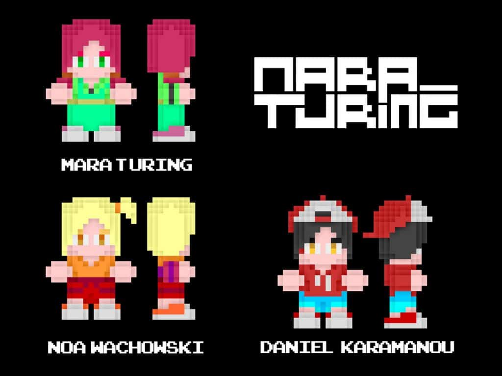 Versiones Píxel de Mara Turing, Noa Wachowski y Daniel Karamanou